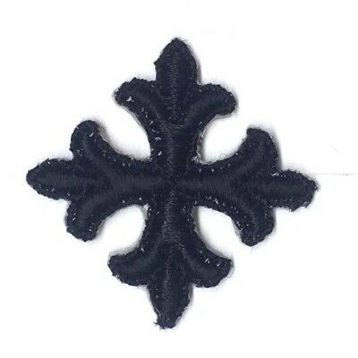 "Vintage French Cross Fleury Embroidery Iron-on Black 1"" Emblem Patch 2 Pc"