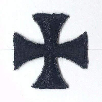"Vintage French Cross Fleury Embroidery 1"" Iron-on Black Emblem Patch 2 Pc"