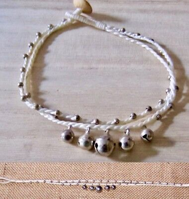BEADED ANKLET BRACELET COTTON CORD MUSICAL BELL womens girl foot jewellery beach