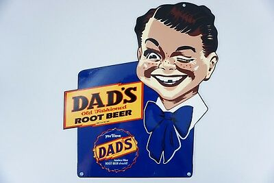 "Vintage Scarce Nos Dad's Root Beer Die-Cut Boy 12"" Metal Soda Pop Gas+ Oil Sign!"