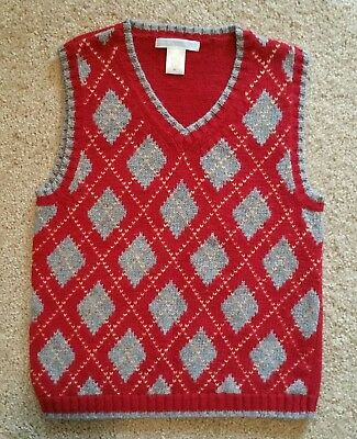 EUC Janie and & Jack Boy Argyle Red Sweater Vest 5 5T Holiday Fall