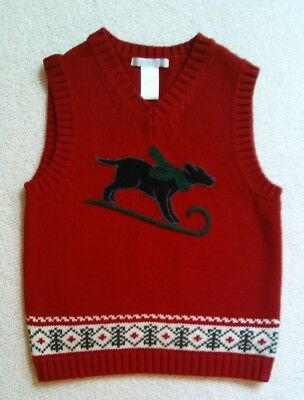 EUC Janie and Jack Boy Red Holiday Embroidered Sledding Dog Sweater Vest 4 4T