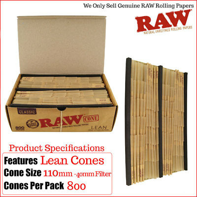 Raw Lean 800 Pack/Box Pre-rolled Cones - King Size with Filler - Fantastic Value