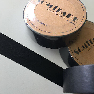 Washi Tape Somi Solid Colour Black 15Mm Wide X 10Mt Roll Scrap Plan Craft Wrap