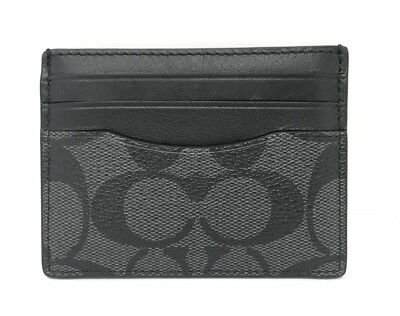 NWT Coach ID Card Case Signature Charcoal/Black F58110 $75