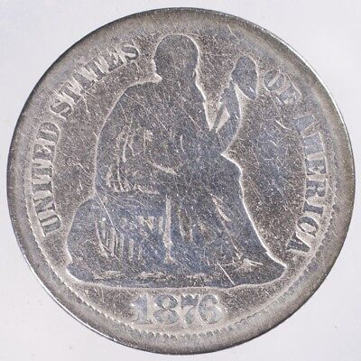1876 CC Seated Liberty Dime VG cleaned