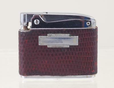 Ronson Lizard Skin Covered Adonis Cigarette Lighter W/fitted Clam Case Ref:5109E