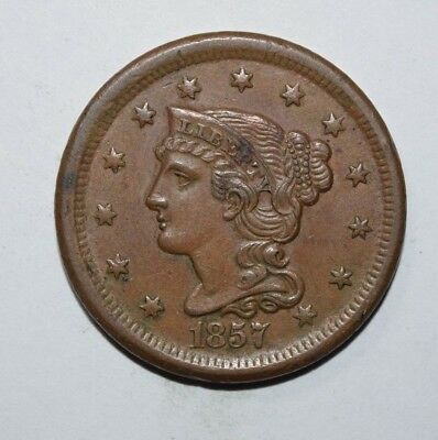 1857 Braided Hair Large Cent   2Y