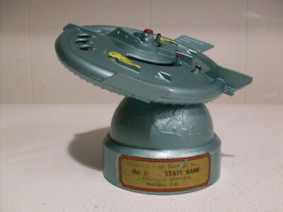RARE 1956 FLYING SAUCER BANK, DURO MOLD Mfg.W/Key & Instructions & Information