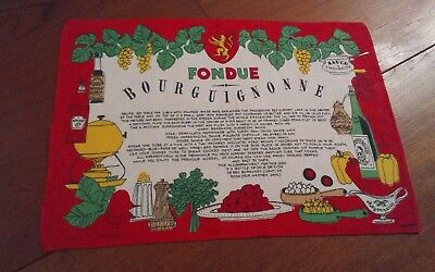 Vtg red linen tea towel placemat 18x12 Kreier fondue bourguignonne Switzerland