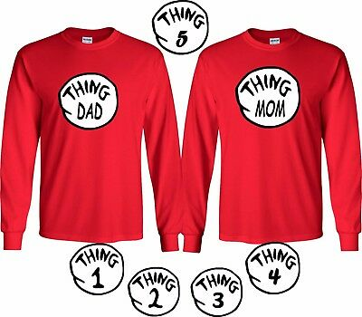 Thing 1 2 3 T-Shirt Funny Cat in the Hat Halloween Long Sleeve Character Book