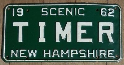 1962 New Hampshire Vanity License Plate 62 NH  TIMER