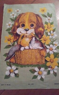 Vintage irish linen tea towel Lamont puppy dog basket kitten very cute