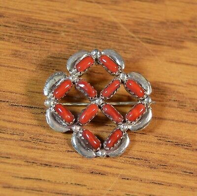 Zuni Mediterranean Red Coral Sterling Silver Pendant Pin Signed Native American