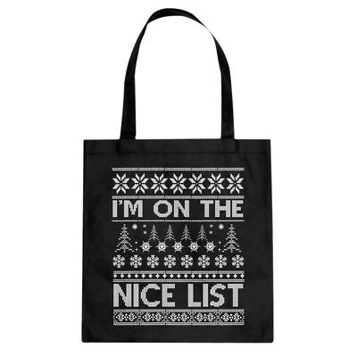 Tote Im on the Nice List Canvas Shopping Bag #3512