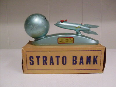 Rare Mint 1960's RU-232 Metal Strato Rocket Bank Duro Mold Mfg. W/Box-Key & Info