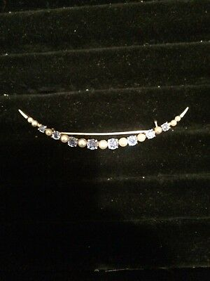 14K YELLOW GOLD ANTIQUE SAPPHIRE AND PEARL CRESCENT PIN-BROOCH CIRCA 1910-20s