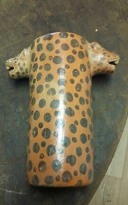 Vintage Precolumbian Polychrome Jaguar Head  Cylinder Urn Mayan??.awesome! !