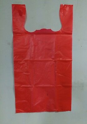 500pcs 1/6 Red Large Carry Out Retail Supermarket Grocery Plastic Shopping Bags