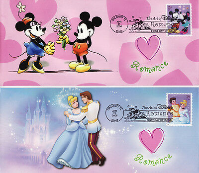 Art Of Disney Romance Mickey Mouse Cinderella First Day Cover Set Of 4
