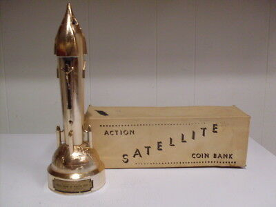 Rare Gold Chrome Satellite Rocket Bank Duro Mold Mfg. W/key- Box & Information