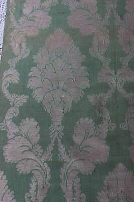 Antique French Lyon Green Silk Home Dec Damask Frame Sample Fabric c1870-90