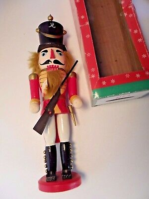 """Vintage Wooden Nutcracker Hand Painted W/Box 15"""" Tall"""