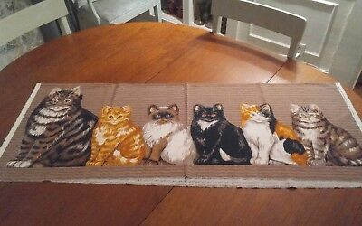 Vtg Rose & Hubble Katie's Kittens Draught Excluder or cushion fabric panel 36x45