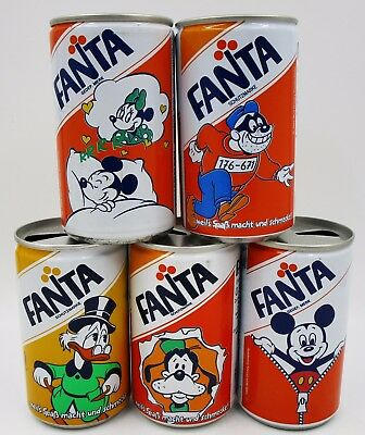 *5 1980's Fanta Disney Cans Mickey & Minnie Mouse GOOFY Scrooge Coca Cola