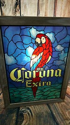 Vintage Corona Light Faux Stained Glass Parrot Beer Bar Sign Rare Pub Man Cave