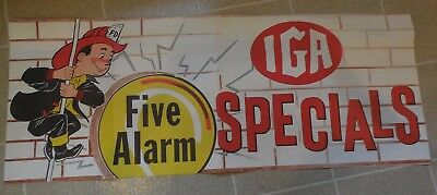 Vintage IGA Grocery Store Advertising Banner Fireman Firefighter Fire Pole