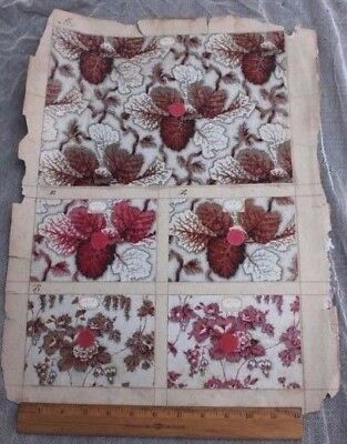 French Antique Chintz Fabric Sample Page c1850-1870~ 7 Samples~Two Sides