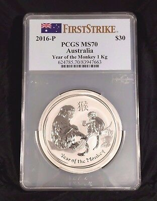 2016-P Australia Monkey PCGS MS70 First Strike 1 Kg silver Lunar coin