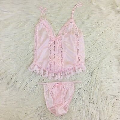 VTG Fredericks of Hollywood Medium Lingerie Cami Set Light Pink Lace Panties 2PC