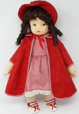"""Vintage Molded Jointed Felted Felt Painted face LARGE 18"""" DOLL By: Maridee Nye"""