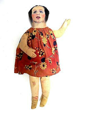 """Antique 18"""" Oil Cloth Doll Handpainted Face Artist Creation? Dressed"""