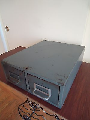 Vintage Metal 2-Drawer File Filing Box Cabinet Index Card