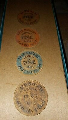Lot of 4 Missouri 1 & 5 Mills Sales Tax Receipt Tax Tokens
