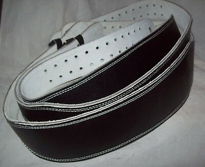 Black leather weight lifting belt from Kmart x 3 - used as dress up props only