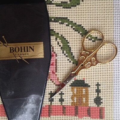 Bohin Arabesque small Embroidery Scissors with gold handles made in France