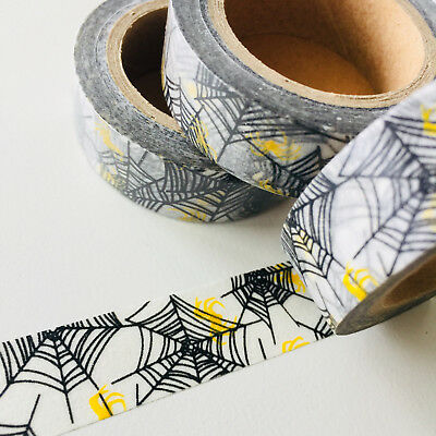 Washi Tape Black Web Lemon Spiders Halloween 15Mm X 10Mtr Scrap Plan Craft Wrap