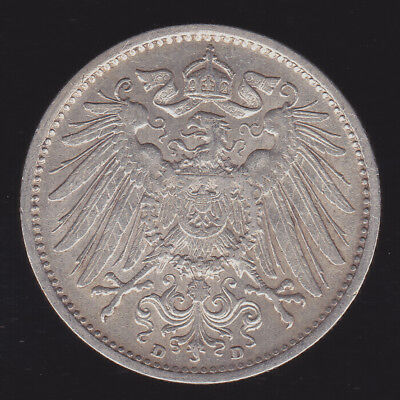 Germany, Empire- 1902 D 1 Mark KM# 14 EF XF Lustrous Silver Coin German