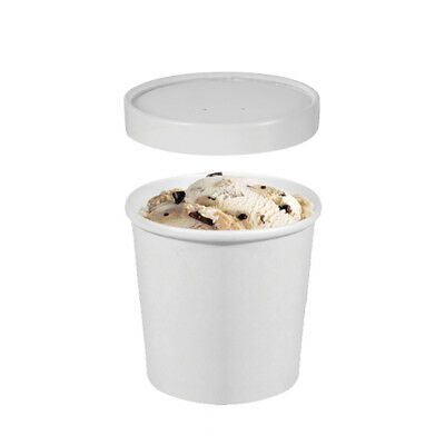 25x Ice Cream Cup w Lid 12oz / 354mL White Disposable Container Take Away NEW