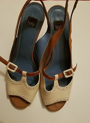 Biala Shoes Size 10 Sling- Back Vintage Made In Italy