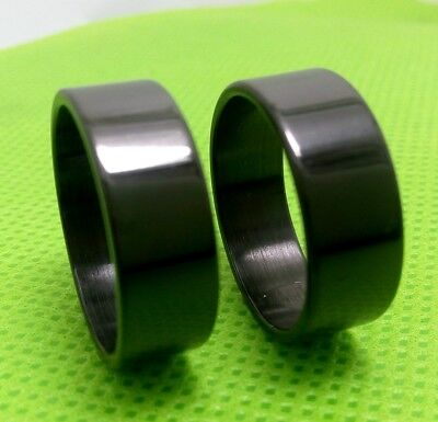 12pcs Men's Black Stainless Steel Band Rings 8mm Classic Wedding Jewelry Job lot