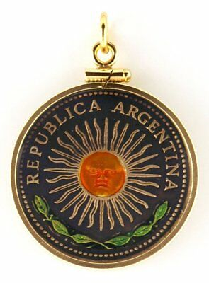 Argentina 1 Peso Sun Coin Hand Painted Pendant Unique Christmas Gift with Box