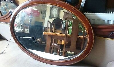 Antique Edwardian Mahogany Inlaid Oval  Mirror With Bevelled Edge