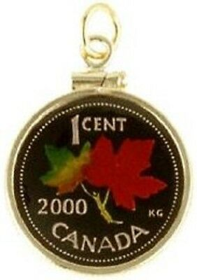 Canada 1 Cent Maple Leaf Coin Hand Painted Pendant Personalized Gift with Box