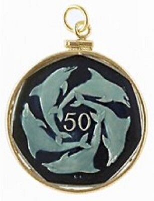 Gibraltar 50 Pence 5 Dolphins Coin Hand Painted Pendant Personalized Gift w/ Box
