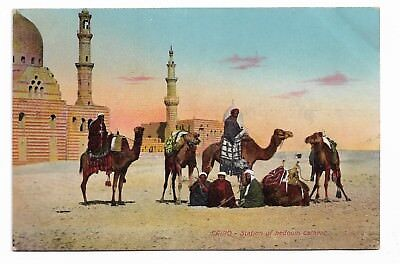 Station of Bedouin Caravan CAIRO Egypt Early 20th Century Postcard 541B